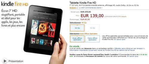 TNP kindle promo BON PLAN   Amazon : le Kindle Fire HD à 139€